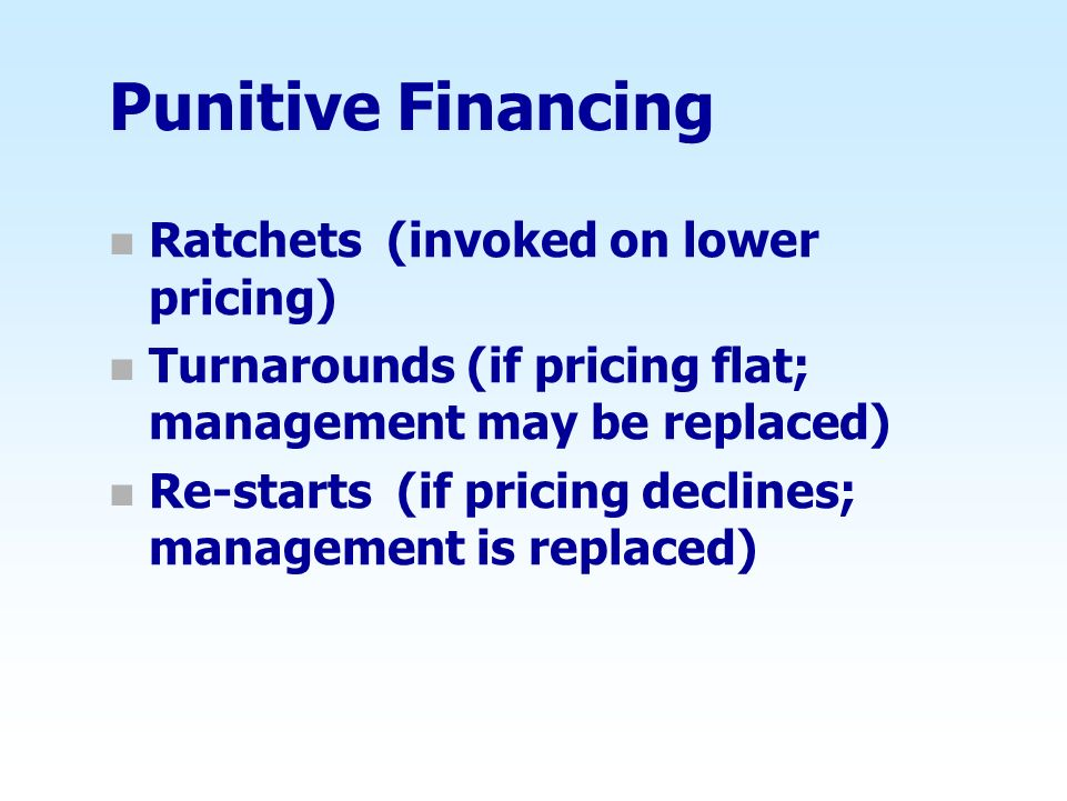 Punitive Financing Ratchets (invoked on lower pricing)