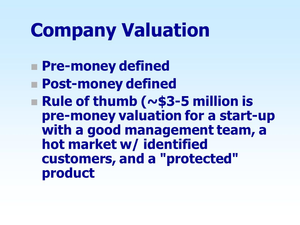 Company Valuation Pre-money defined Post-money defined
