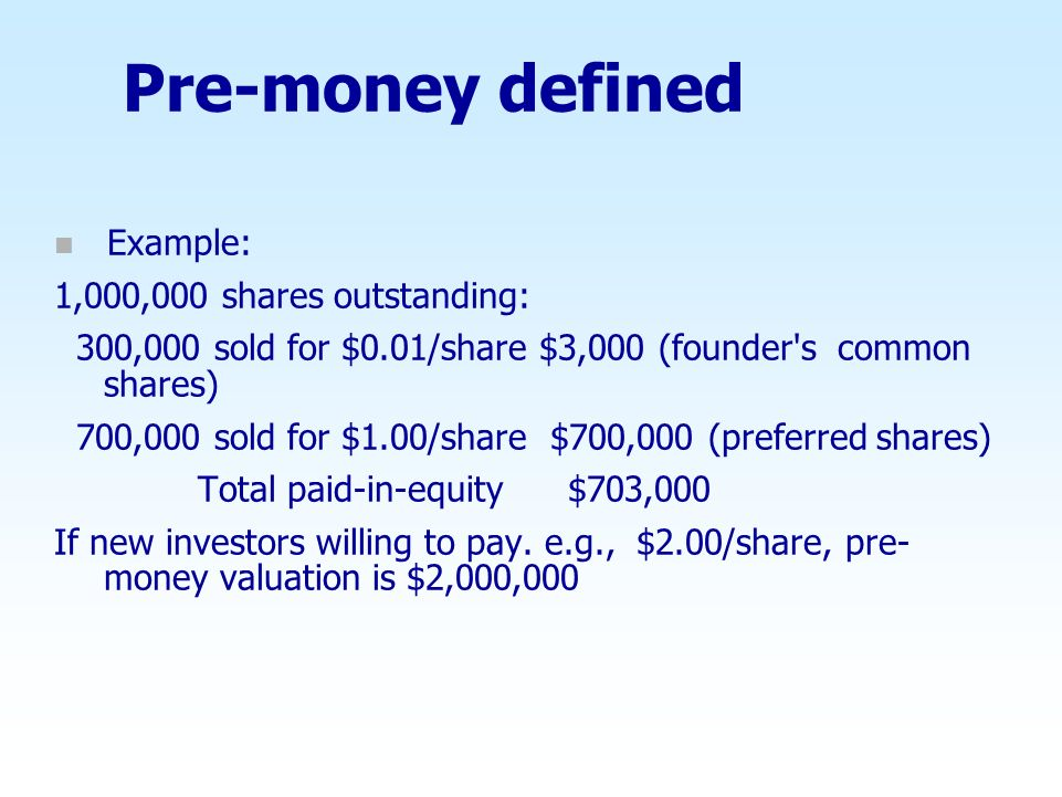 Pre-money defined Example: 1,000,000 shares outstanding: