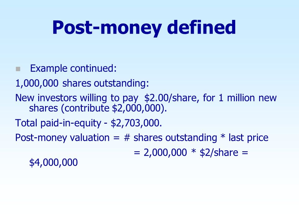 Post-money defined Example continued: 1,000,000 shares outstanding: