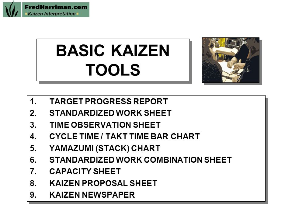 Basic Kaizen Tools Target Progress Report Standardized Work Sheet