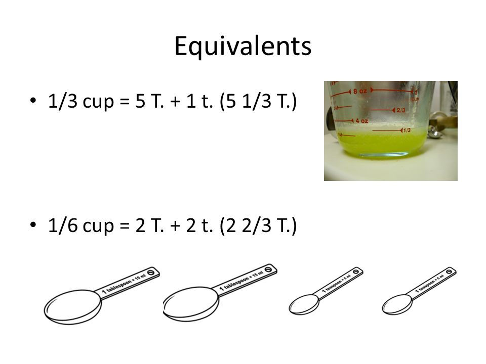 Equivalents 1/3 cup = 5 T. + 1 t. (5 1/3 T.)