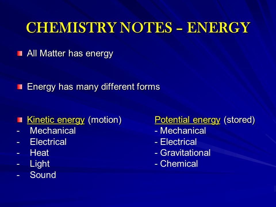 CHEMISTRY NOTES – ENERGY