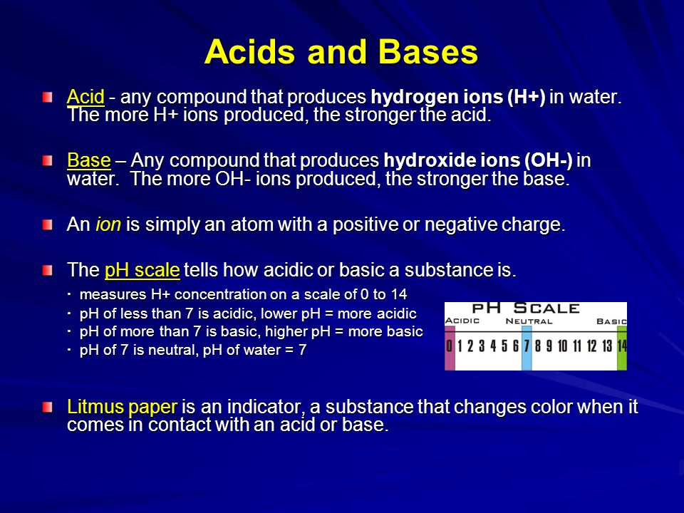Acids and Bases Acid - any compound that produces hydrogen ions (H+) in water. The more H+ ions produced, the stronger the acid.