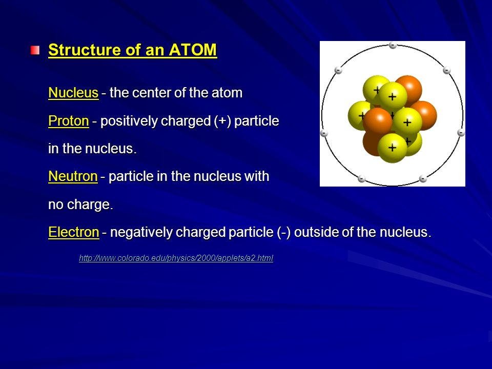Structure of an ATOM Nucleus - the center of the atom