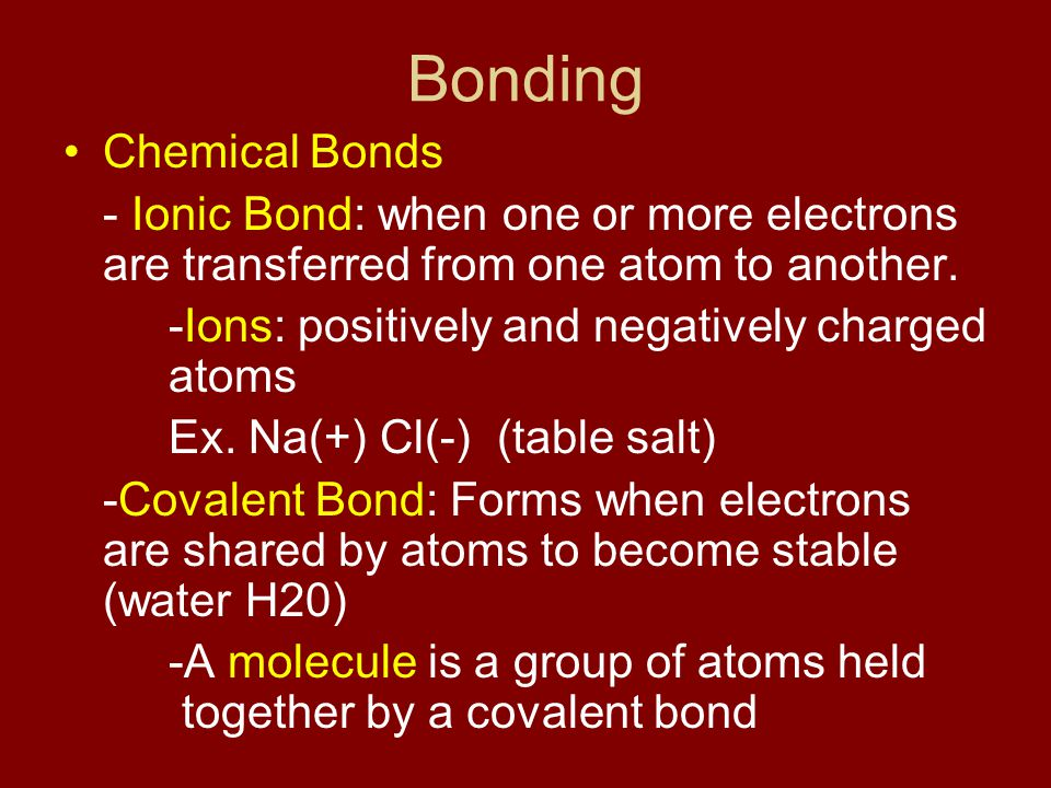 Bonding Chemical Bonds