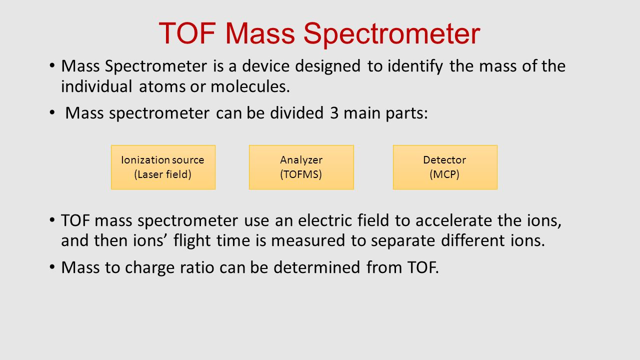 TOF Mass Spectrometer Mass Spectrometer is a device designed to identify the mass of the individual atoms or molecules.