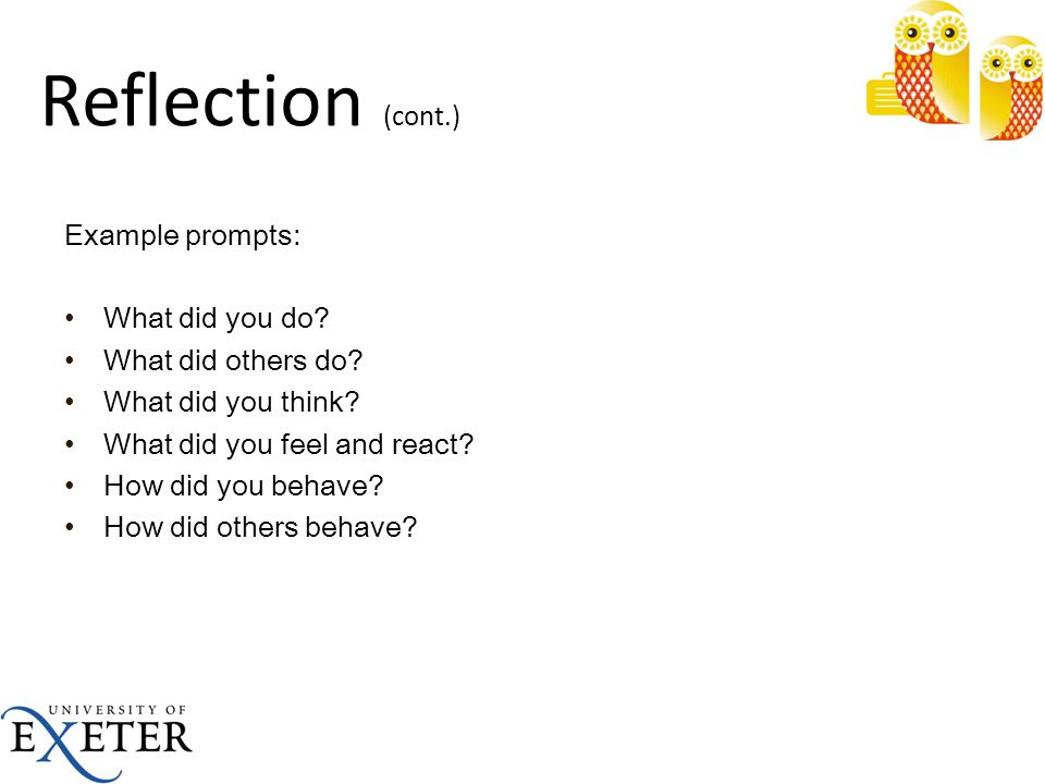 Reflection (cont.) Example prompts: What did you do