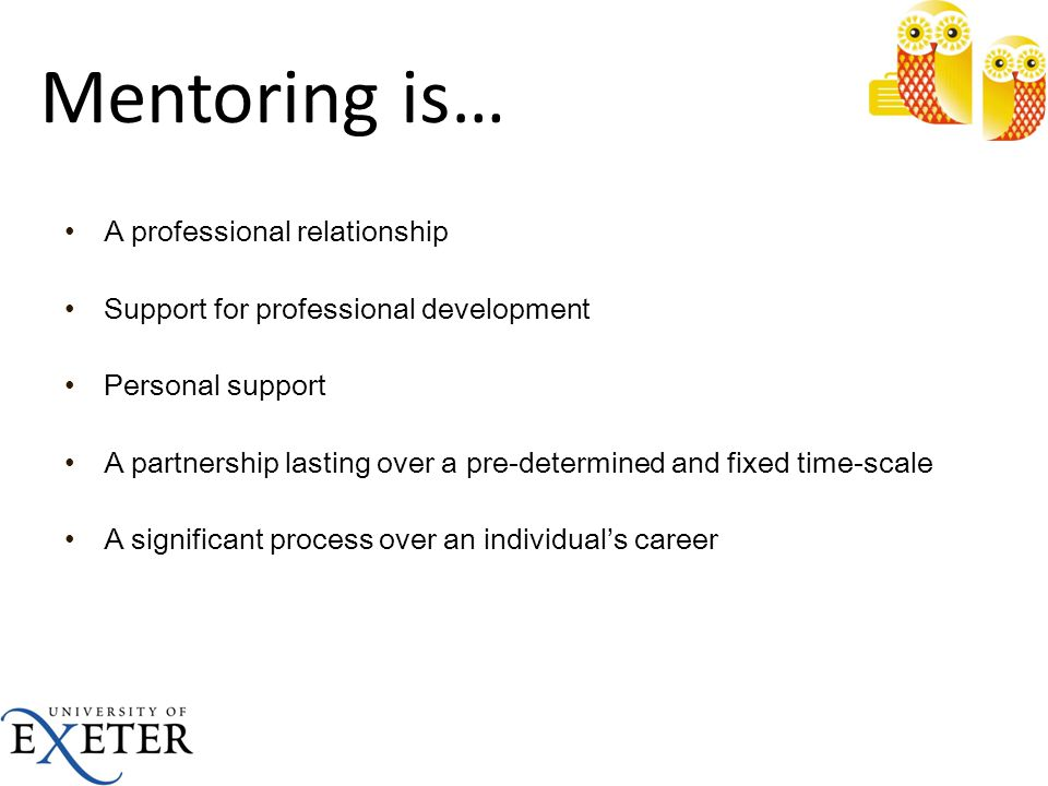 Mentoring is… A professional relationship