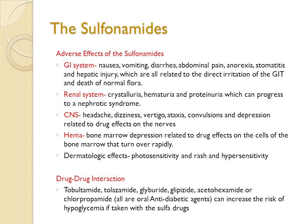 Side effects to sulfa drugs
