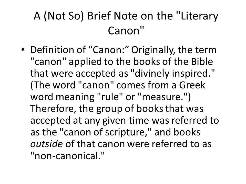 Literary Canon Defined