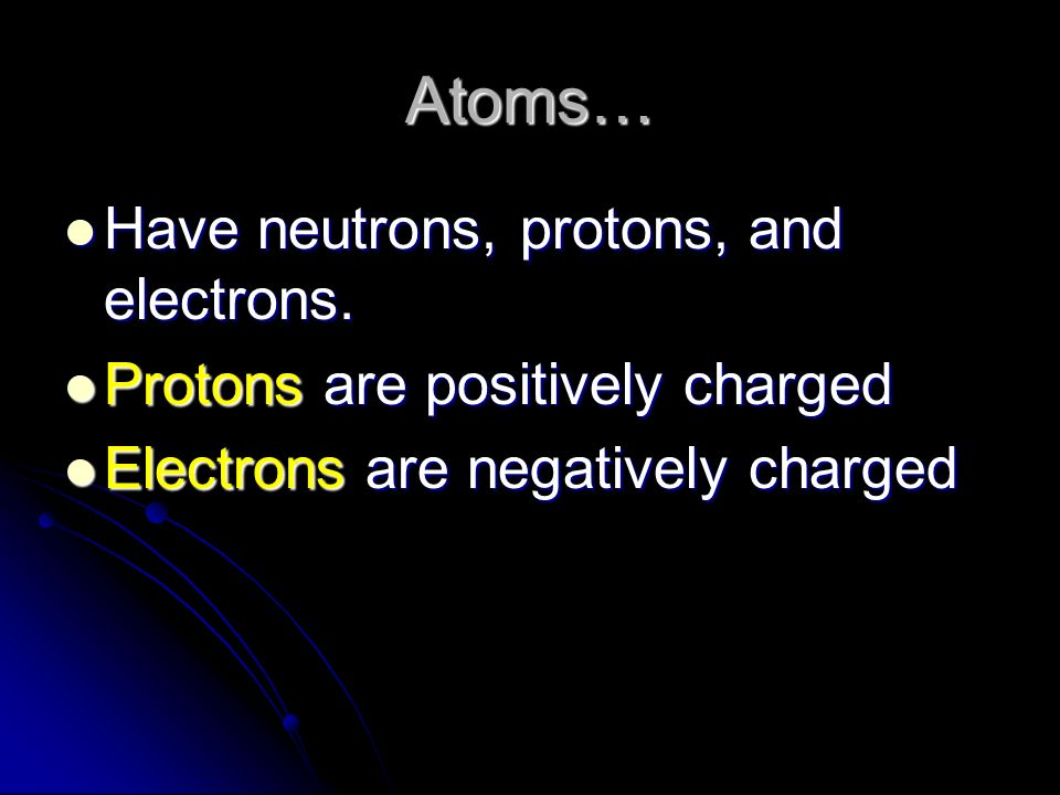 Atoms… Have neutrons, protons, and electrons.