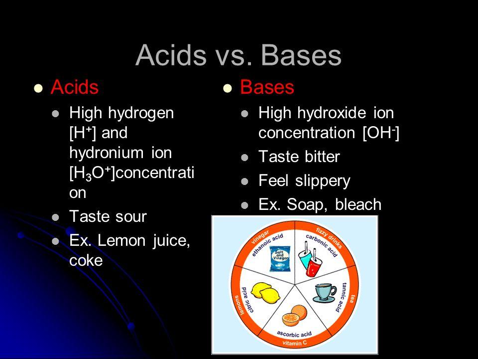 Acids vs. Bases Acids Bases