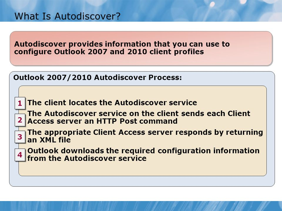 Course 10135B What Is Autodiscover Module 4: Managing Client Access.
