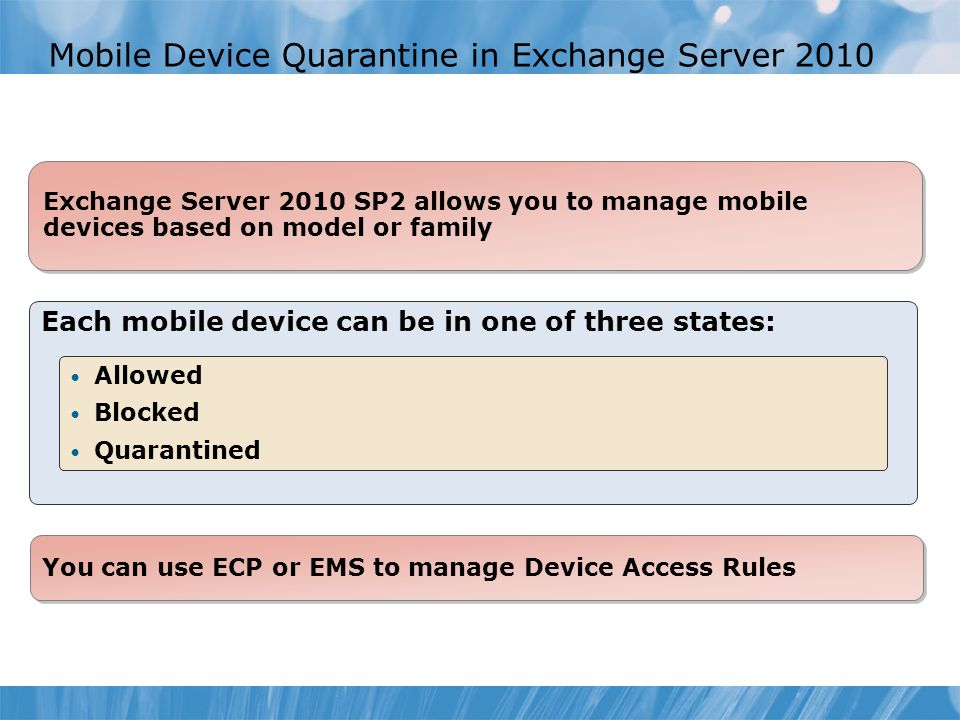 Mobile Device Quarantine in Exchange Server 2010
