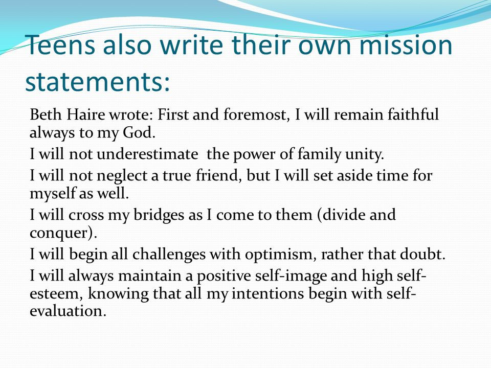 How to write my own mission statement