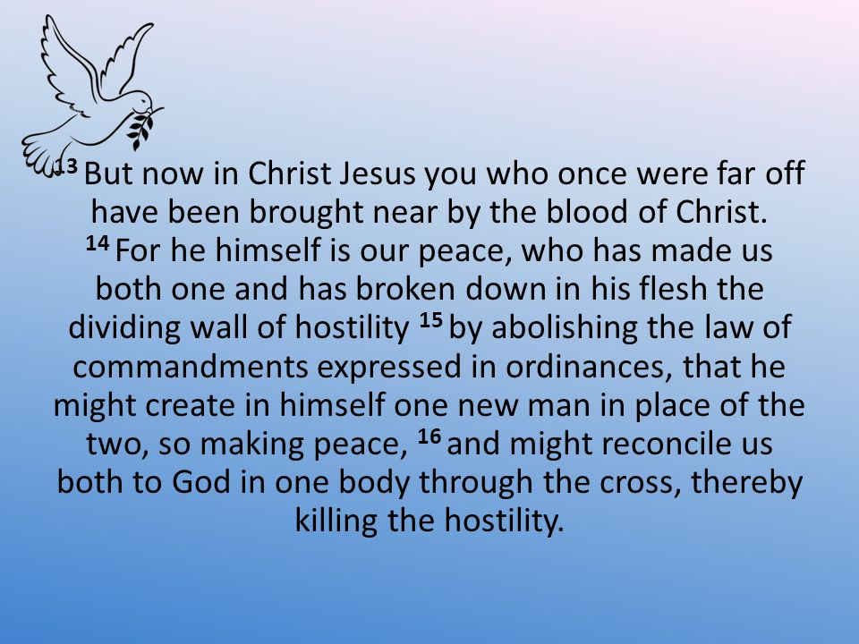 13 But now in Christ Jesus you who once were far off have been brought near by the blood of Christ.