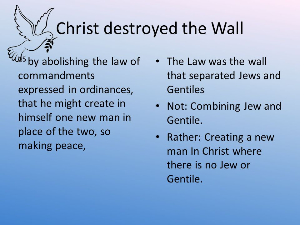 Christ destroyed the Wall