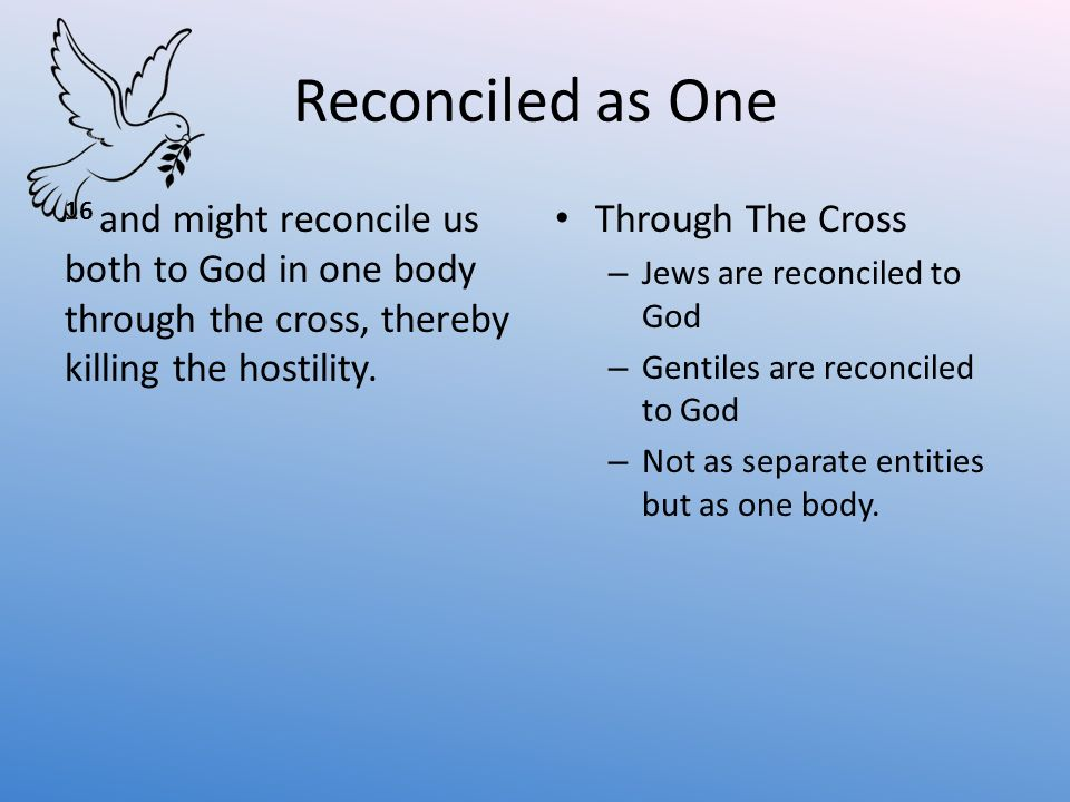 Reconciled as One 16 and might reconcile us both to God in one body through the cross, thereby killing the hostility.