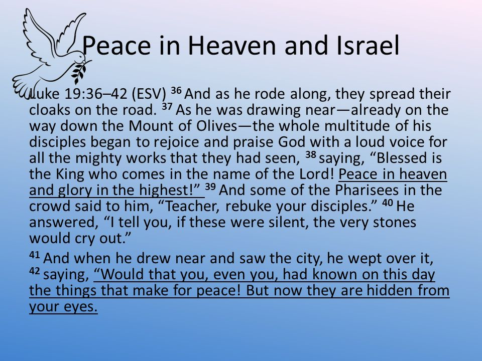 Peace in Heaven and Israel
