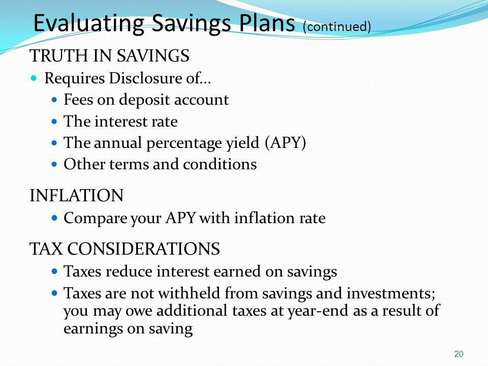 Evaluating Savings Plans (continued)