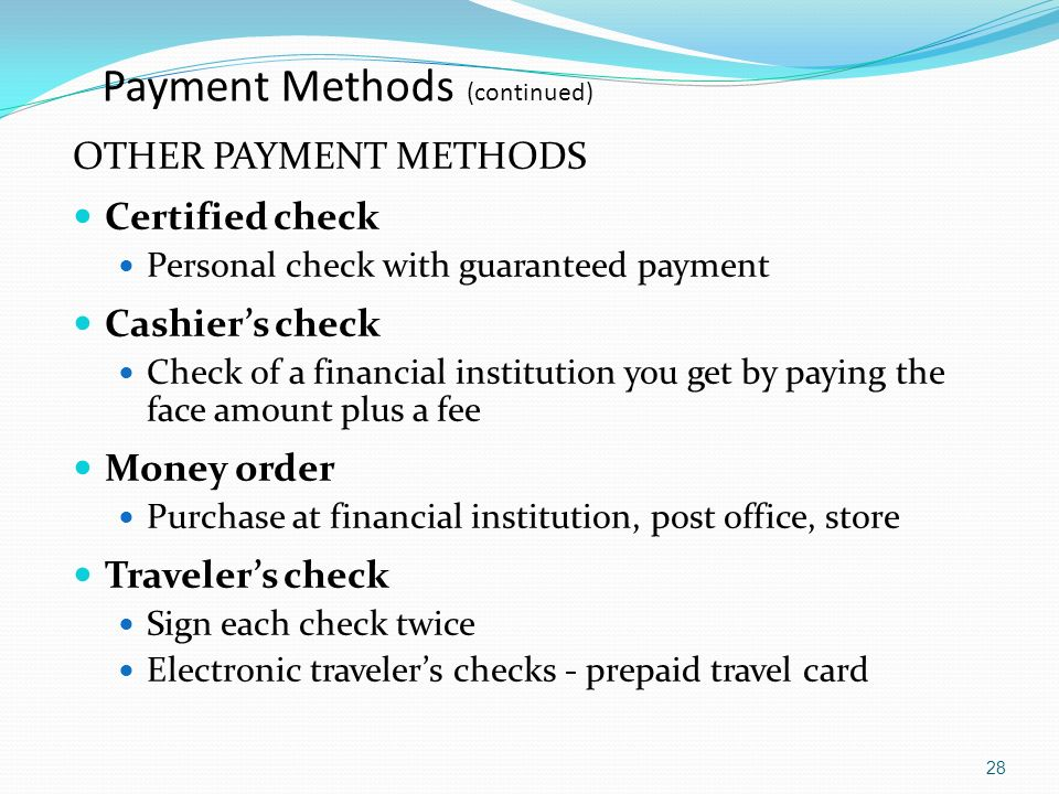 Payment Methods (continued)
