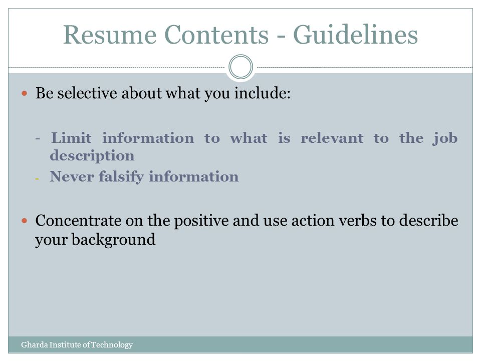 Resume Tips Presented By K .G. Vinod Training & Placement Officer