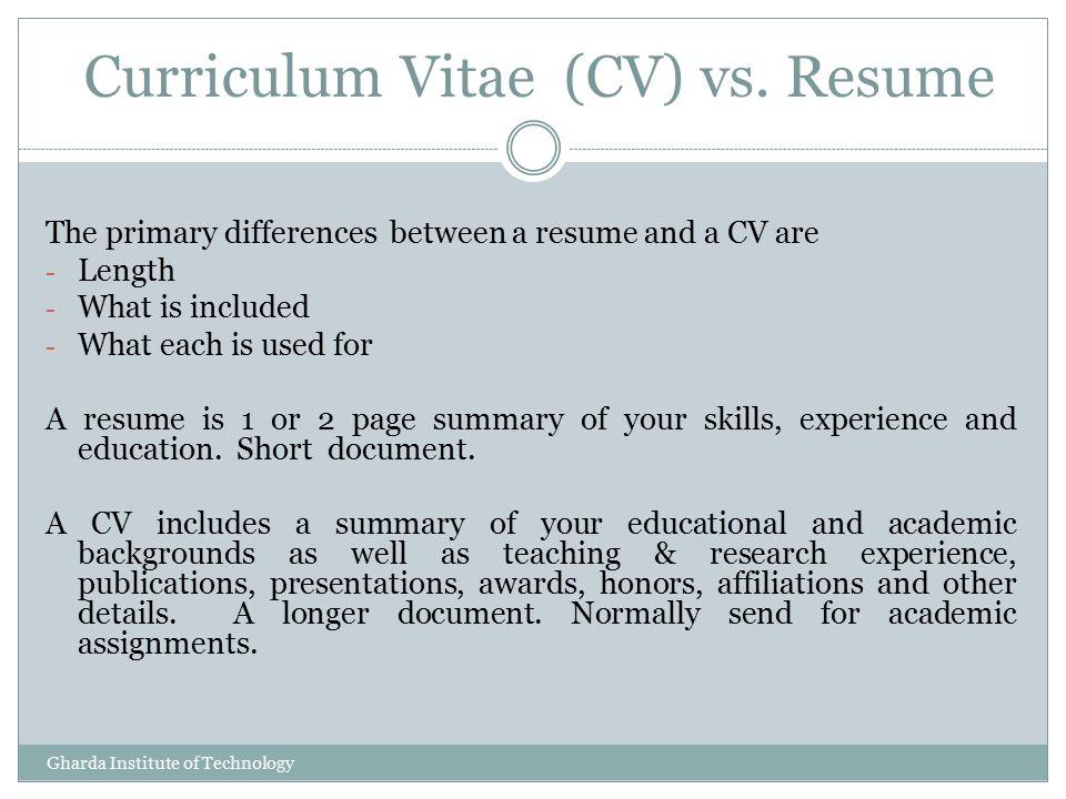 Curriculum Vitae Vs Resume Comparison