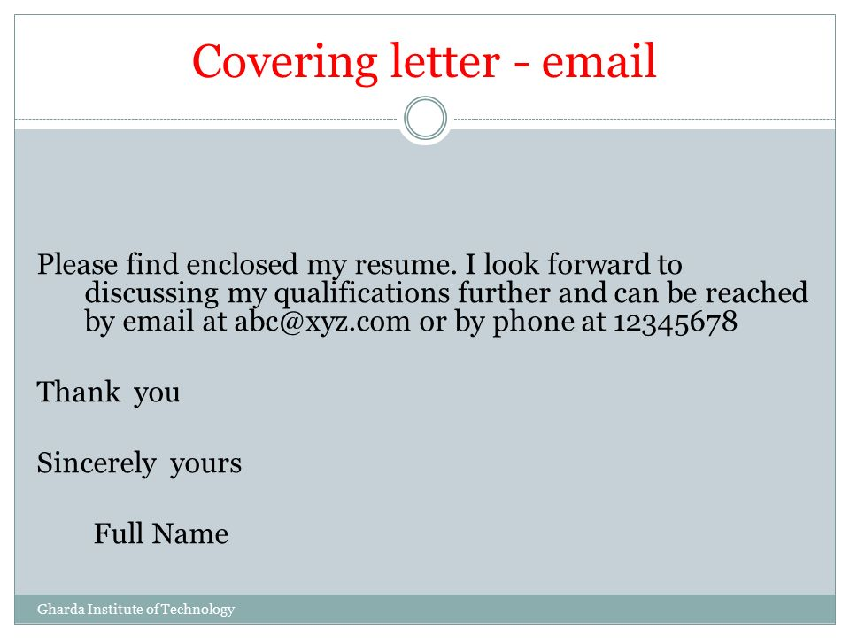 cv cover letter email attachment