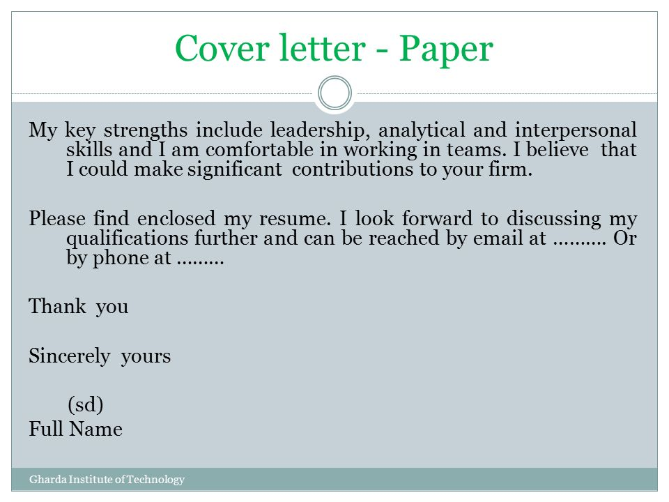 49 Cover Letter   Paper My ...  Enclosed Is My Resume