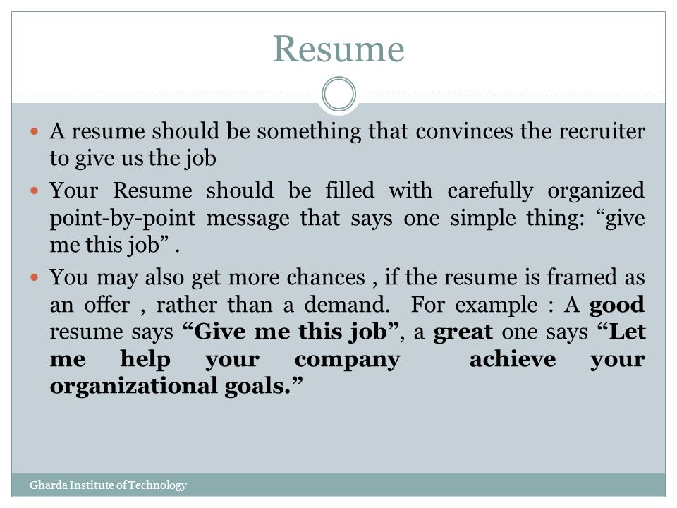 resume tips presented by k g vinod training placement officer