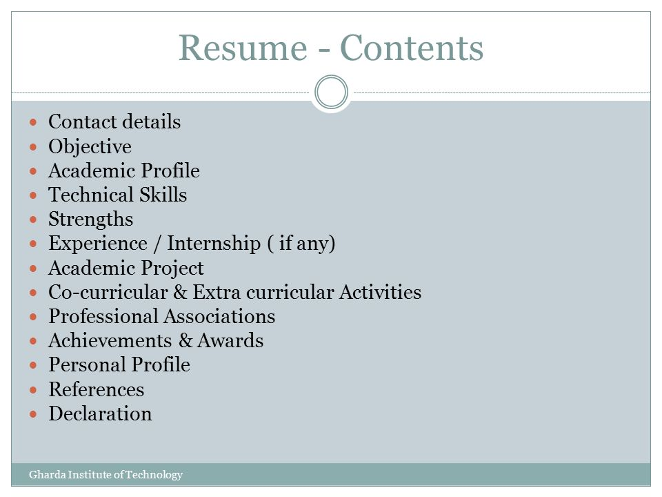 resume contents - Selo.l-ink.co