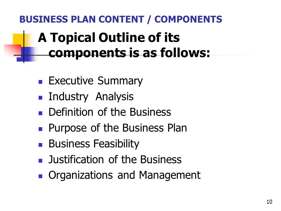 an analysis of the components of a business plan A business plan is a written description of your business's future that's all there is to it--a document that desribes what you plan to do and how you plan to do it if you jot down a paragraph .