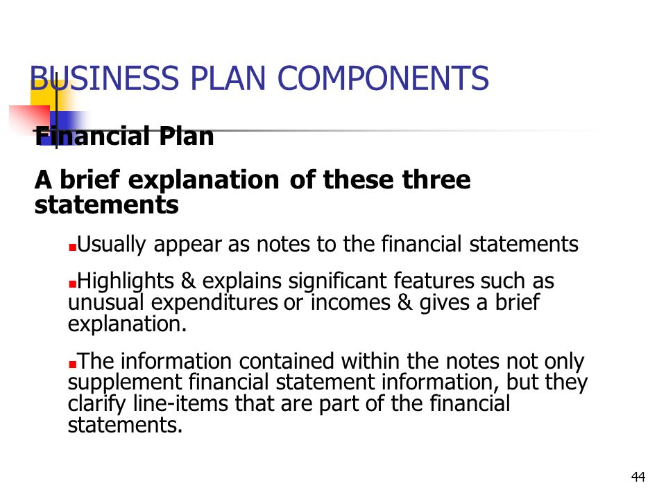 components of the business plan