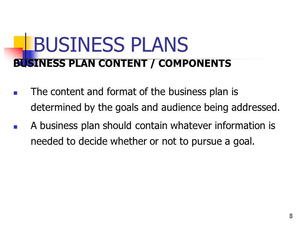Business plan contains