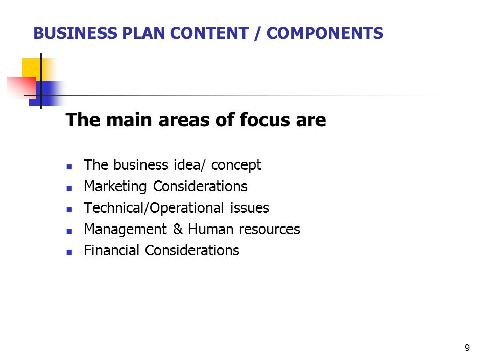 business plan focus areas definition