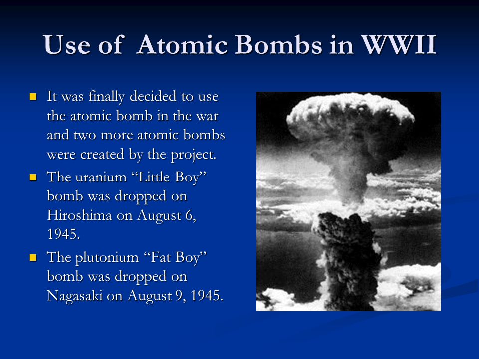 History leading to the creation of the atomic bomb