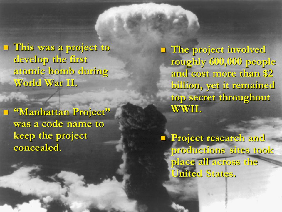 the events leading to the atomic bombs development The events and decisions leading up to the were being applied to the development and use of the atomic bomb to clarifying the events that took place.