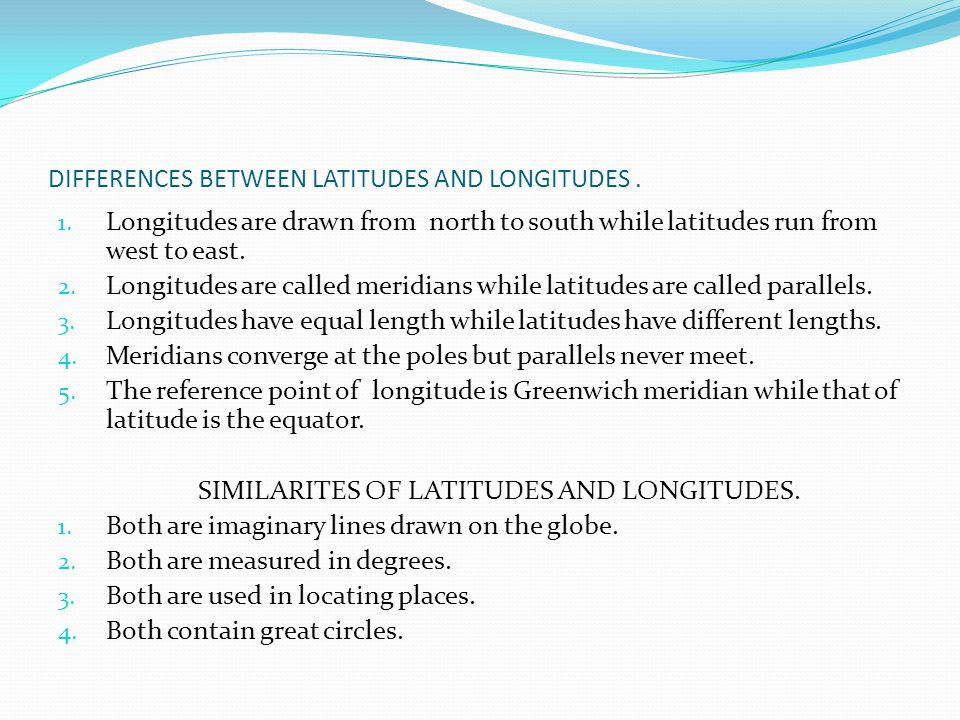 DIFFERENCES BETWEEN LATITUDES AND LONGITUDES .