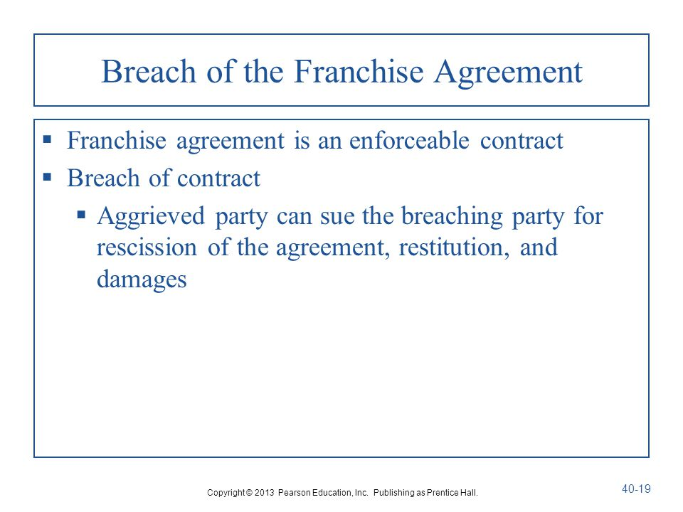 Breach Of The Franchise Agreement