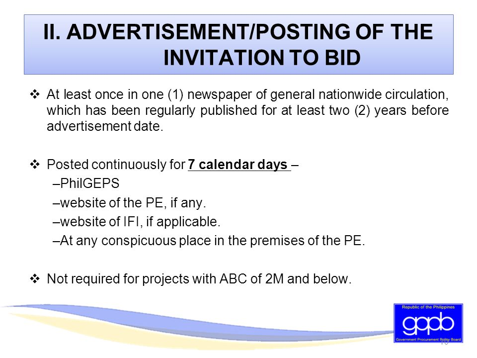 Bidding procedures for the procurement of goods and services ppt advertisementposting of the invitation to bid stopboris Image collections