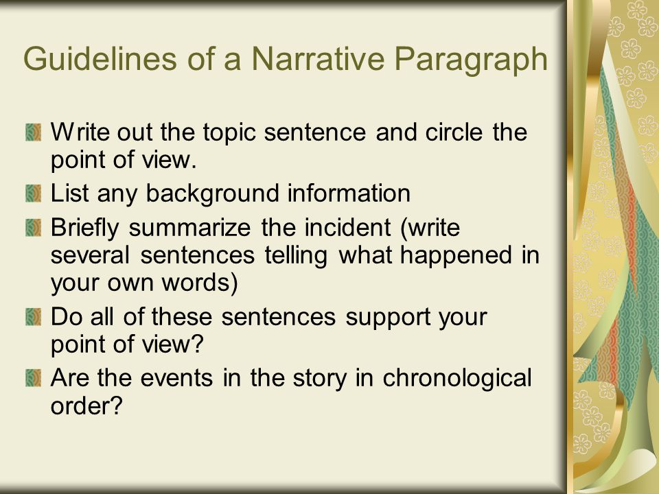 good narrative essay Writing a narrative essay is an essential talent for field research it presents your experience and allows audiences to draw their own conclusions.