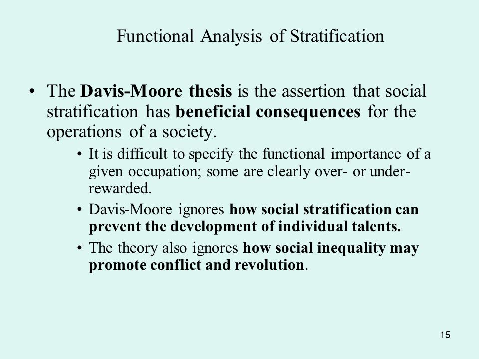 davis-moore thesis social stratification A summary of theories of stratification in 's social stratification and inequality learn exactly what happened in this chapter, scene, or section of social stratification and inequality and what it means.