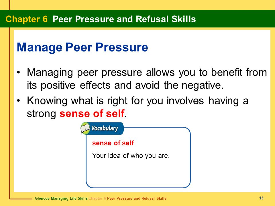 a way to avoid negative peer pressure Peer pressure, positive or negative, is when your classmates, or other people your age, try to get you to do something learn more about peer pressure at safeteensorg.