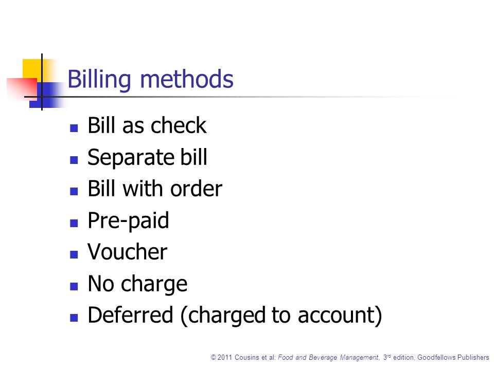 Billing Methods Of Food And Beverage Service