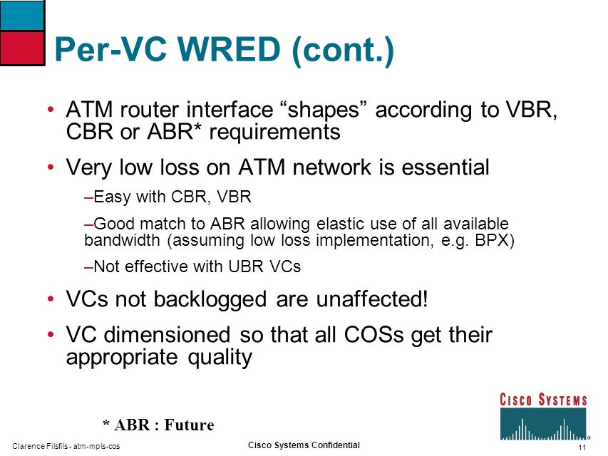 Per-VC WRED (cont.) ATM router interface shapes according to VBR, CBR or ABR* requirements. Very low loss on ATM network is essential.