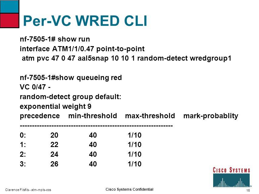 Per-VC WRED CLI nf-7505-1# show run
