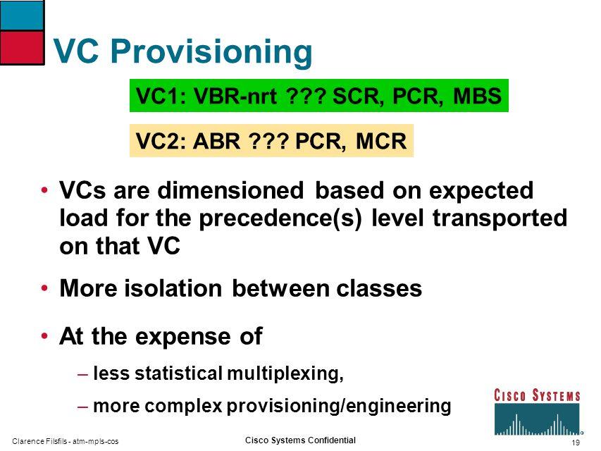 VC Provisioning VC1: VBR-nrt SCR, PCR, MBS. VC2: ABR PCR, MCR.