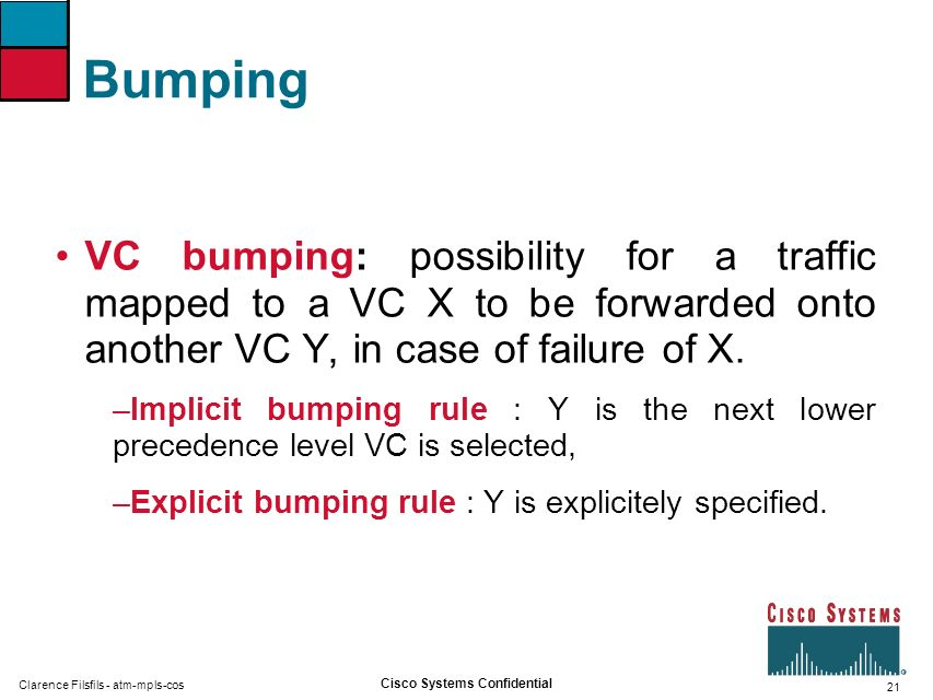 Bumping VC bumping: possibility for a traffic mapped to a VC X to be forwarded onto another VC Y, in case of failure of X.