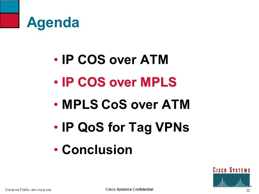 Agenda IP COS over ATM IP COS over MPLS MPLS CoS over ATM